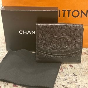 Chanel Black CC Caviar Leather Wallet